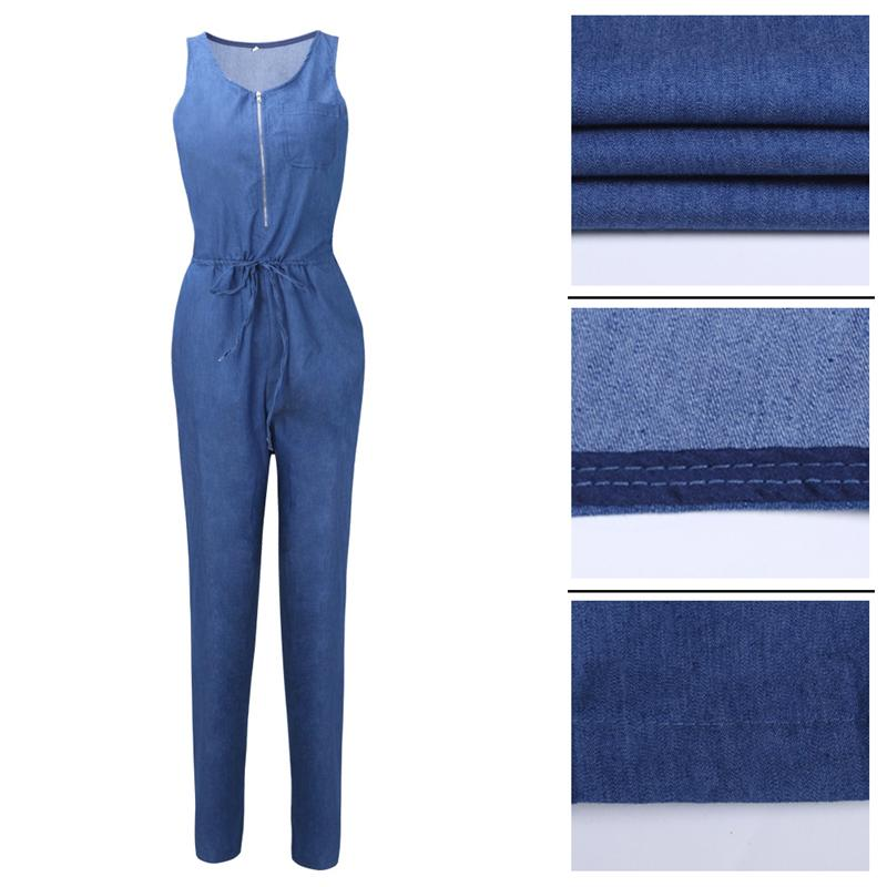 New Jeans Sexy Jumpsuits Women Denim Rompers Sleeveless Casual Loose Long Body Suits For Women One Piece Pants Overalls