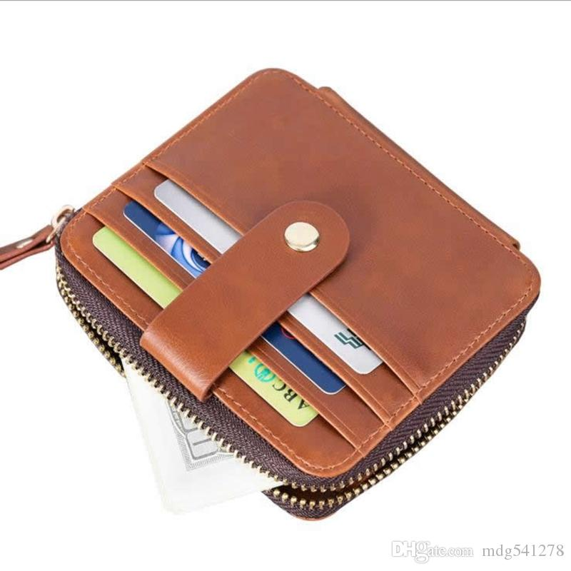99c13b9aca76 Men Wallet Credit Card Holder Mini Wallet Simple Portable PU Leather ID  Case Purse Bag Pouch Vintage Cards Holders Zip Around Wallet Leather Wallets  For ...