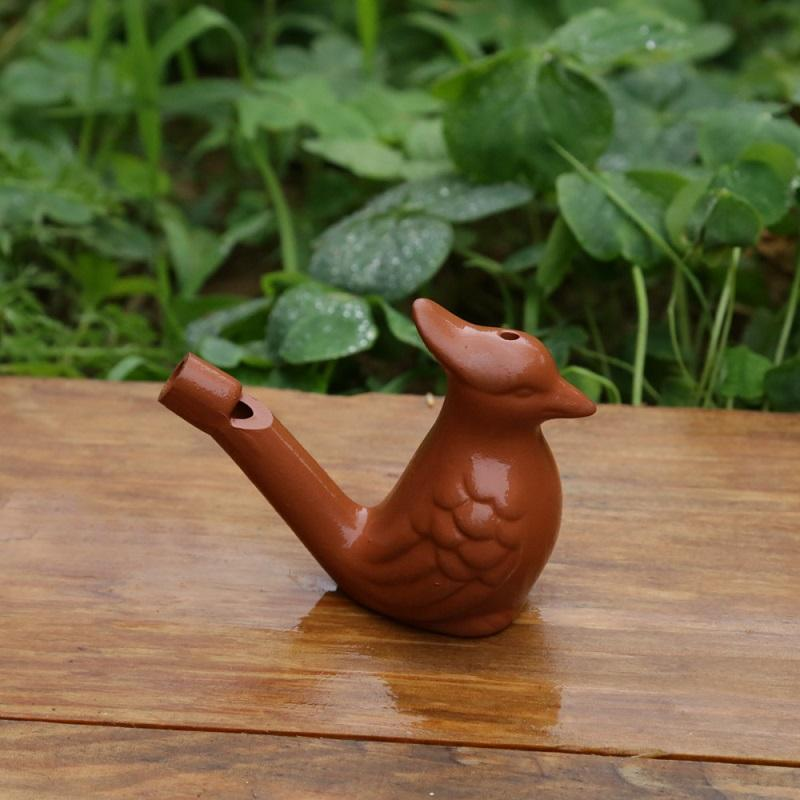 300pcs Vintage Style Purple Clay Water Bird Whistles Ocarina Warbler Song Ceramic Chirps Children Bath Time Toys Wen4762