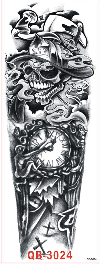 Impermeable Etiqueta Engomada Del Tatuaje Temporal del brazo completo cráneo grande de la escuela vieja pegatinas tatto flash tatoo tatuajes falsos para hombres mujeres niña 9