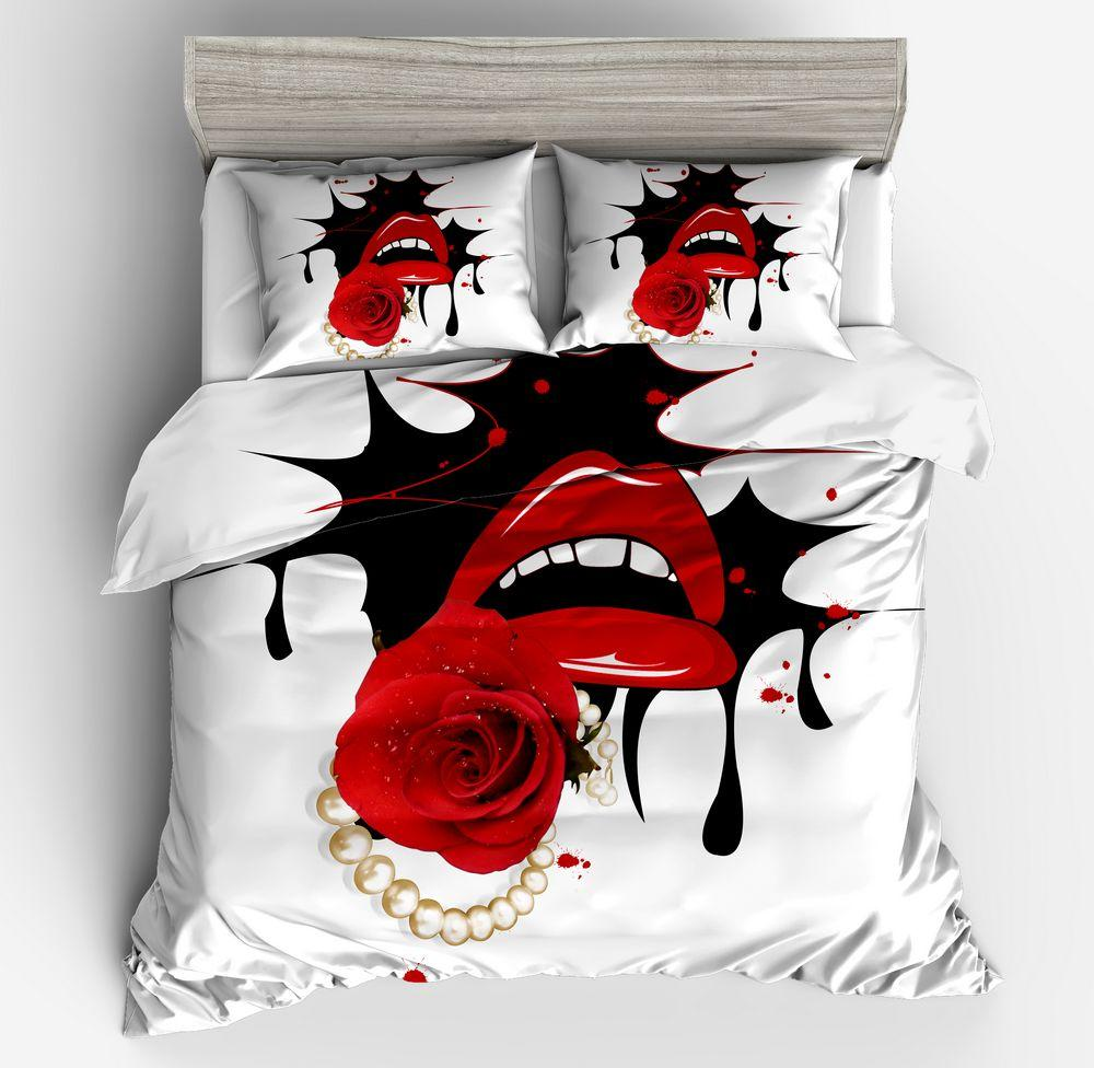 Hot Sexy Mund Bettbezug Sets Vivid Rot Weiß Schwarz Kissing Twin Königin Queen-Size Feminine Decor hochwertige Bettwäsche-Sets