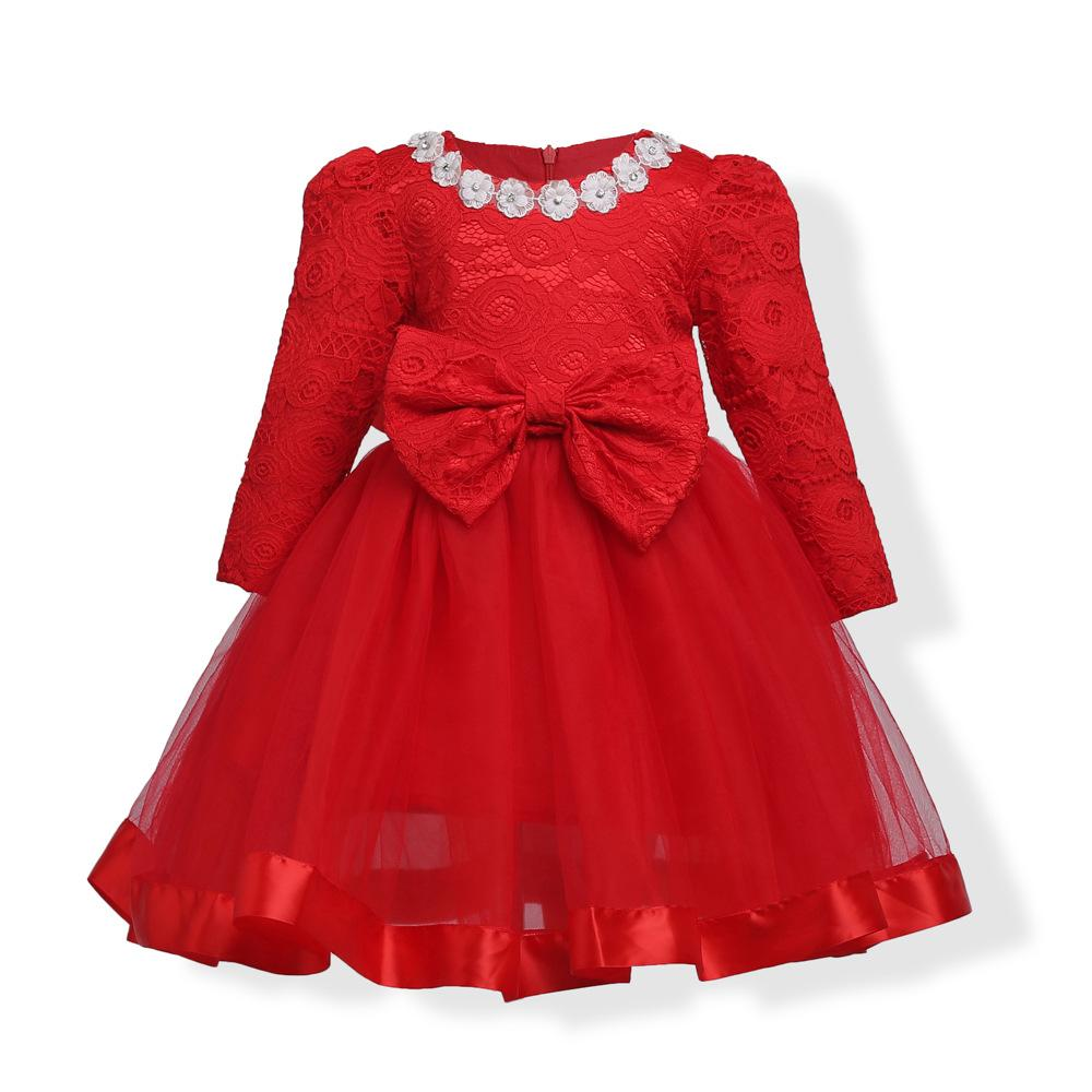 0e06adbe32bd4 Baby Girl Dress flower girl dresses Red Princess Lace Dress Long Sleeve  O-neck Floral A-line Bow Cotton Red Kids Evening Party Dresses