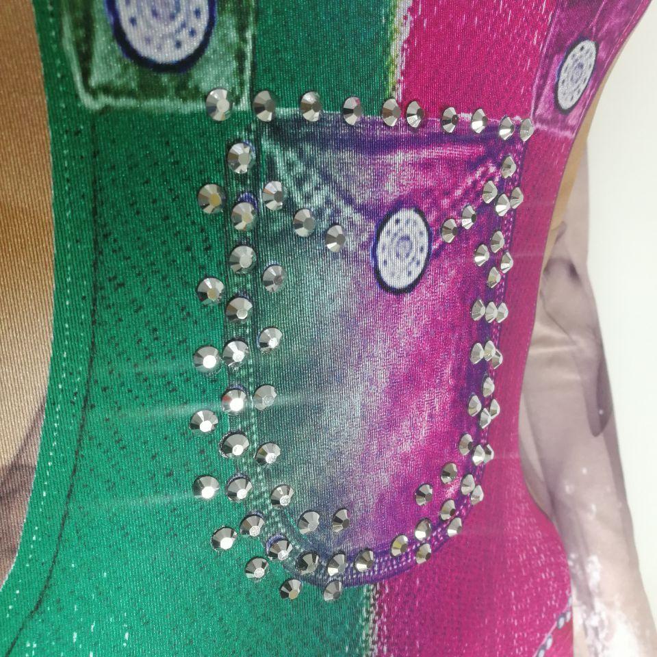 weibliches kostüm Sexy trikotspielanzug Glänzender Stein Kristallcowboy-blauer Overallbühnenabnutzung Funkelnder Diamantnachtklub-Showpartyabschlußball