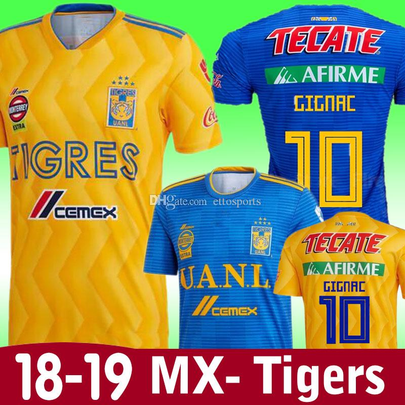 Nuevo 18 19 Tigres UANL Home Soccer Jersey 2019 México Club Tigres Amarillo  6 Estrellas GIGNAC Vargas H. Ayala Camisetas De Fútbol De Uniforme SOSA Por  ... 3dd14f40d0cc2