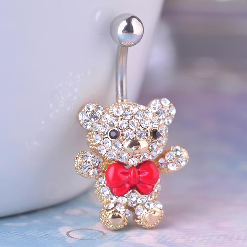 Red Bow Tie Little Bear Navel Belly Button Rings 316L Surgical Steel Kawaii Piercing For Women 14G 1.6mm Bar Sexy Body Jewelry