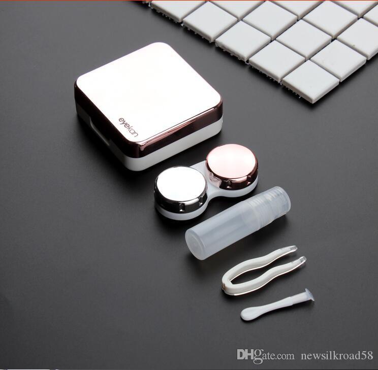 높은 품질 반사 커버 렌즈 콘택트 렌즈 미러 콘택트 렌즈 케이스 콘테이너 귀여운 러블리 여행 키트 박스