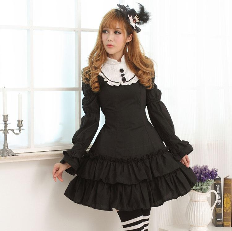 Chinese Style Black and White Classic Madarin Neck Long Sleeve Ruffled Lolita Dress with Rose Embellishments