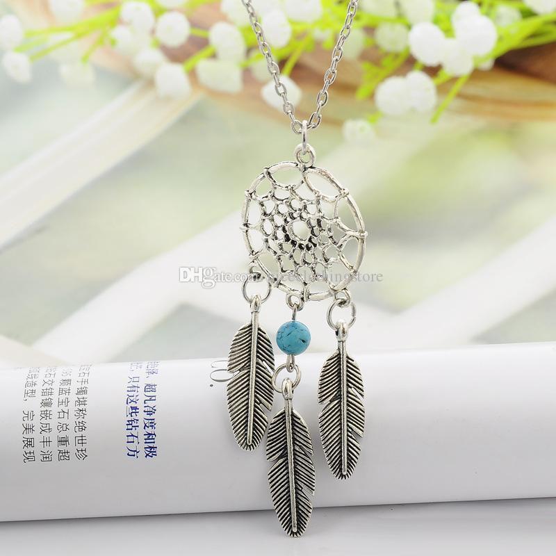 Древний Серебряный Индийский мечта поймать кисточкой перо кулон ожерелье ожерелья для женщин надеюсь бирюзовый Dreamcatch подарок ювелирных изделий