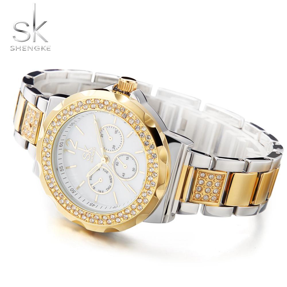 cadd2de23db Compre Sk Pulseira Das Mulheres Relógios Shell Superfície Strass Caso De  Aço Inoxidável Senhoras De Luxo Relógios De Ouro Rosa Relogio Feminino De  Dagu002
