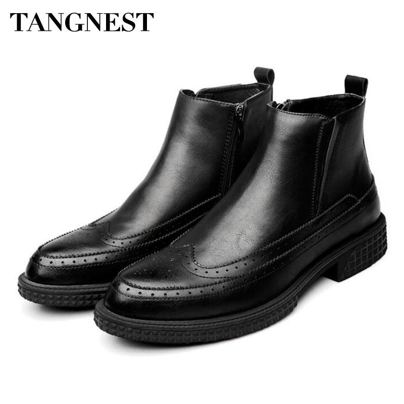 huge discount 622ba 7e29e Tangnest NEW Winter Herren Stiefeletten Vintage Cut-out Brogue Schuhe Mann  Kuh Split Leder Motorradstiefel Pelz Plattform