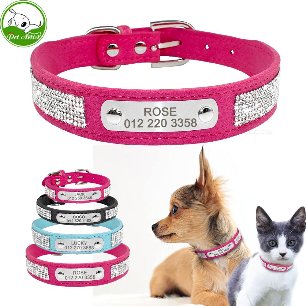 2019 soft rhinestone engraved dog collar for small medium dogs