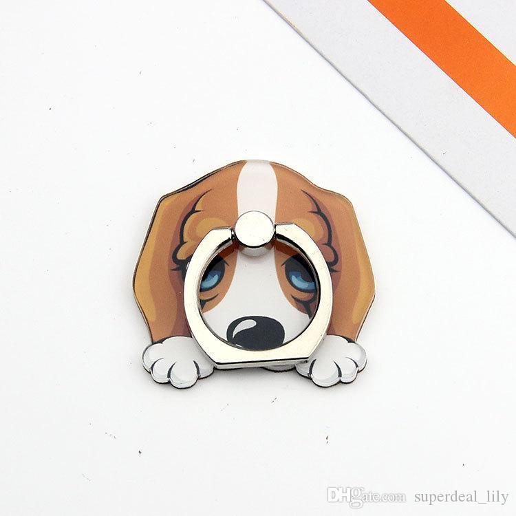 Evrensel 360 Derece Sevimli Köpek Parmak Yüzük Tutucu Telefon iPhone 8 Samsung Telefonları Için Dağı Destek Standı