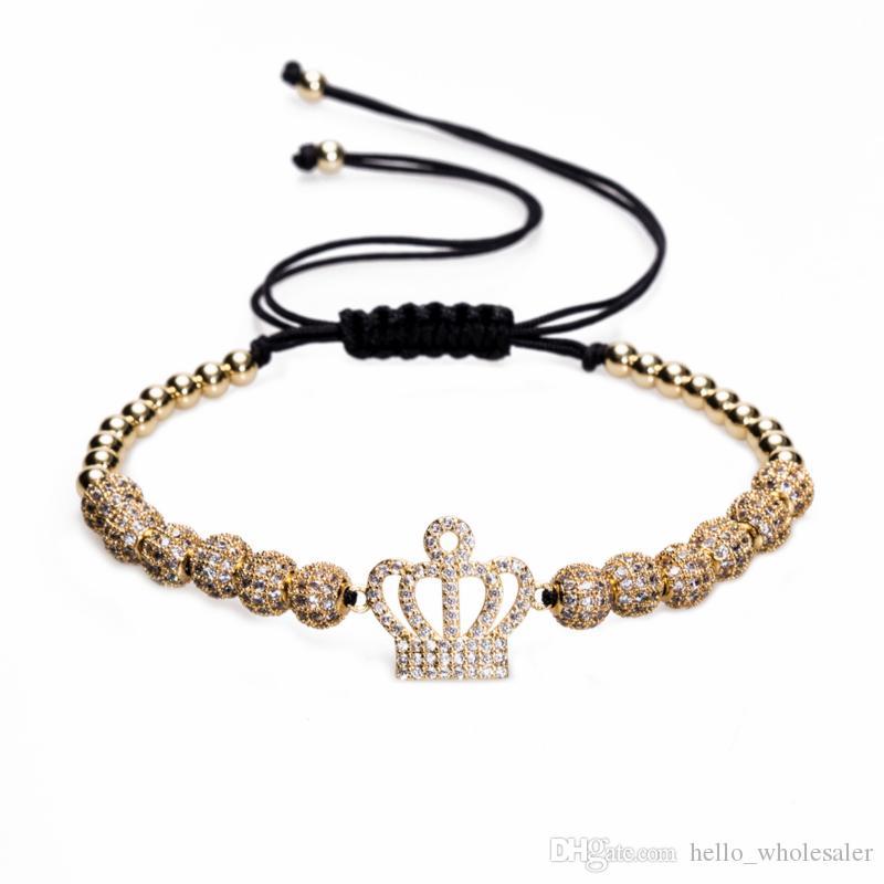 74e3f1bc28e37a 2019 2018 New Zircon Bracelets Women Jewelry Cubic Micro Pave CZ Crown  Charm Round Beads Braided Macrame Bracelet Pulseira Feminina From  Hello wholesaler