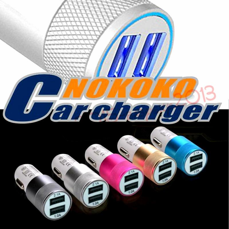 Car chargers Metal Dual USB Port Car Charger Universal 12 Volt / 1 ~ 2 Amp for iphone ipod Samsung htc android phone mp3 gps