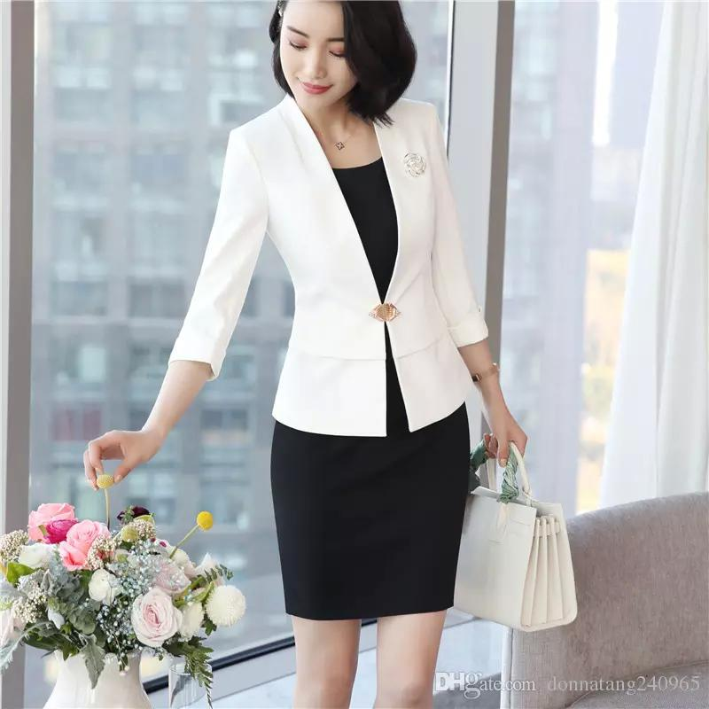 78b2c3d15cd6 2019 Women Blazer And Jacket Summer 3 4 Sleeve Single Button Elegant Blazer  Femme Formal Office Jacket From Dujotree