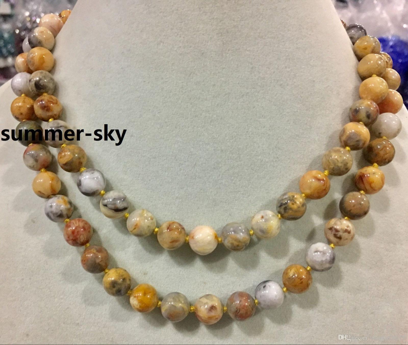 a0b16d957572 Compre Ágata Amarilla Loca De 10MM Collar De Cuentas Redondas De Piedras  Preciosas 18 100 AAA A  7.23 Del Yangfan20170
