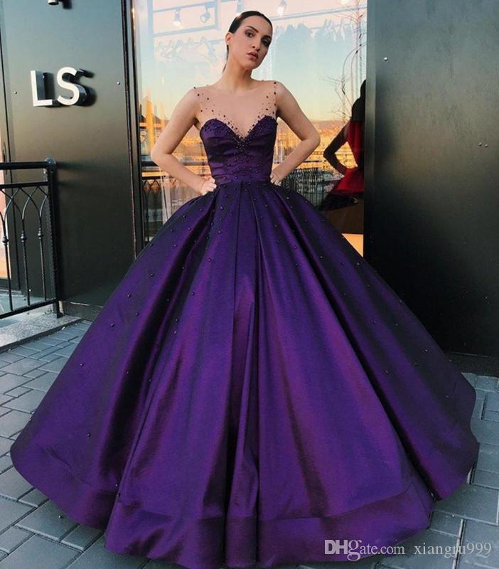 Compre Romántico Vestido De Bola Púrpura Vestidos De Quinceañera ...
