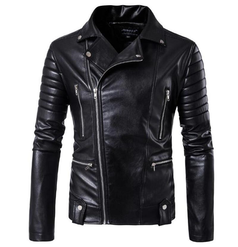 e85d23ea67d 2019 New Retro Vintage Motorcycle Jackets PU Leather Men Slash Zipper Moto  Jackets Lapel Biker Rider Faux Leather Coat Size M 5XL From Cujuflo
