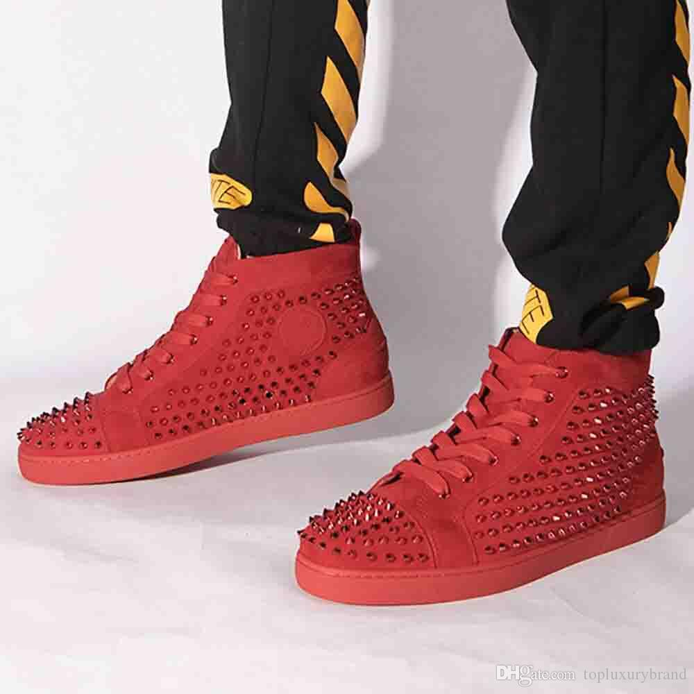 With BoxFashion Designer Brand Spikes Men Lace Up High Top Red ... c5c11fd82e7e