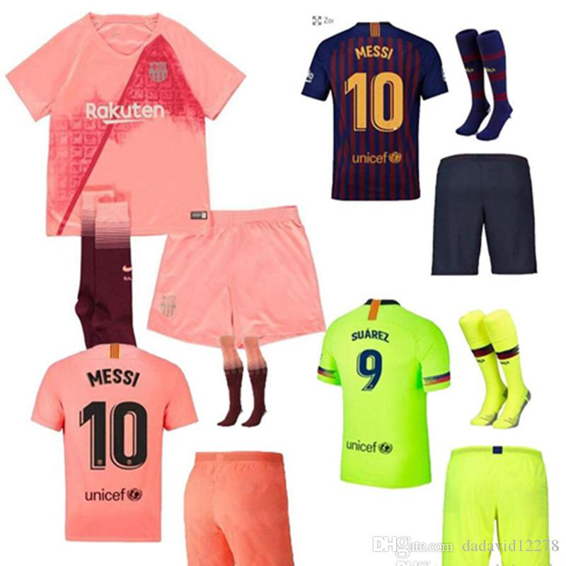 8269dd2c5 ... discount code for 2018 18 19 kids kit barcelona third 10 messi 9 suarez  soccer jersey