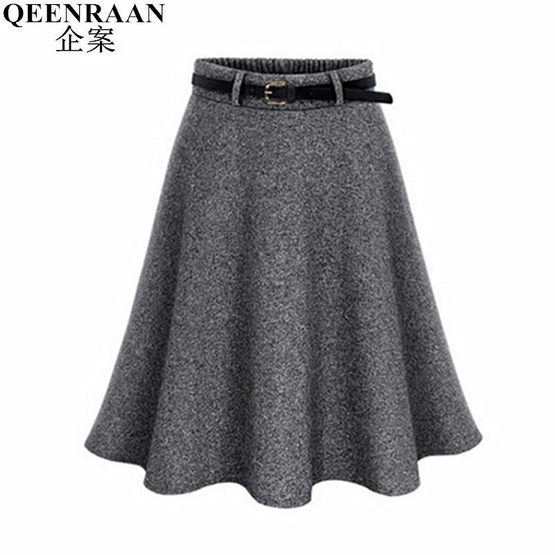 ea15a03a3ee0f 2019 2017 New Autumn Winter Women Skirt Plus Size M 6XL Woolen Skirts  Ldaies Pleated Midi Skirt Saia Fashion Mini Tutu Skirts Faldas From Cutee