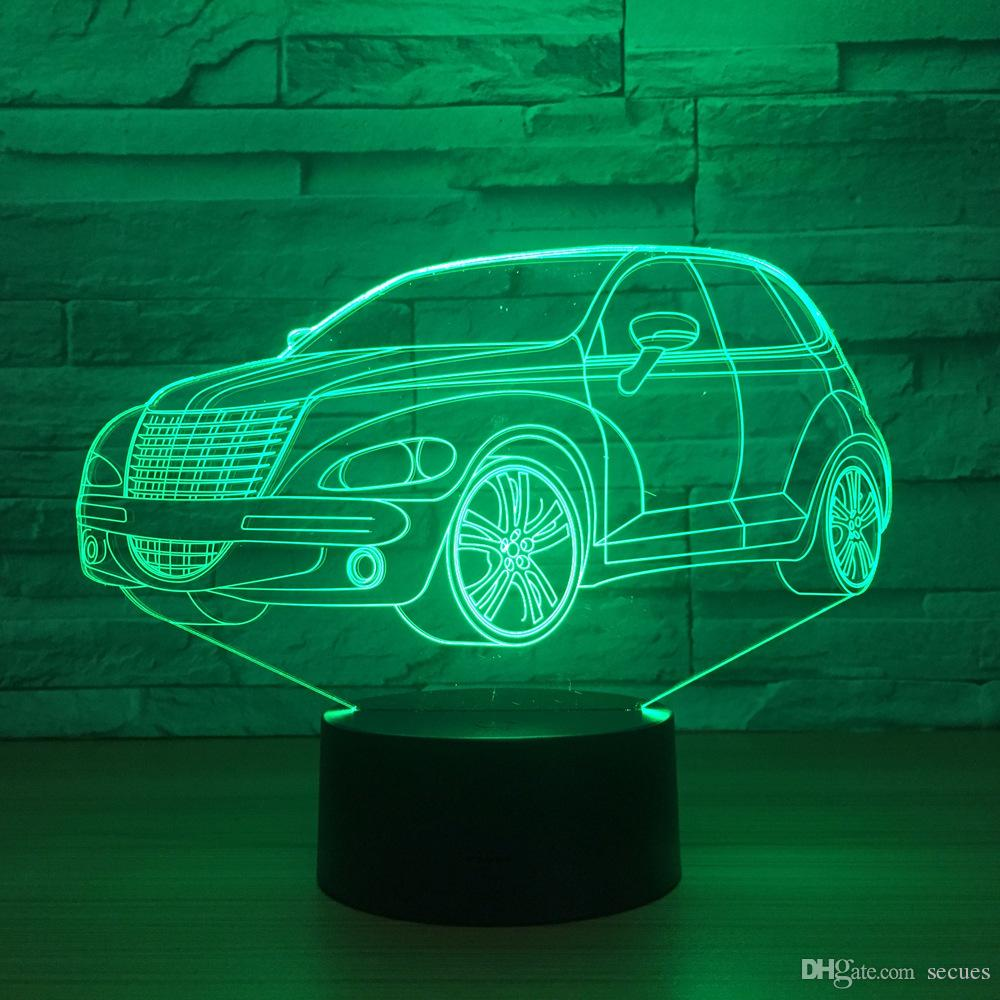 SUV Car 3D Optical Illusion Lampada Night Light DC 5V USB Alimentato Batteria Dropshipping Wholesale Shippin