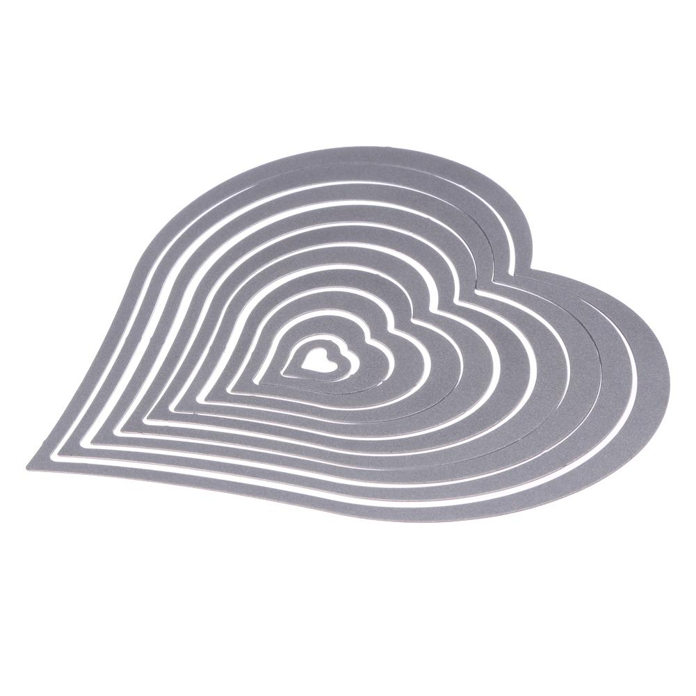 10pcs/set Cutting Dies Heart Sewing thread Cutting Dies Stencil For DIY Scrapbooking Album Decorative Embossing Paper Card Craft