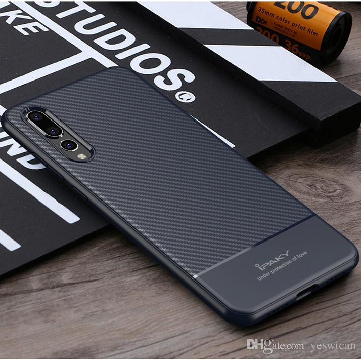 check out 43961 91d21 iPaky Case For Huawei P20 Pro Lite Carbon Fiber Back Cover Soft Durable TPU  Soft Cases With Retail Package Wholesale In Stock