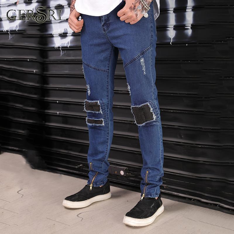 08b65b4478d7 Gersri Fashion Hole Pants Destroyed Slim Fit Pants Jeans Men Casual Denim  Distressed Men s All-match Slim Jeans Jeans Cheap Jeans Gersri Fashion Hole  Pants ...