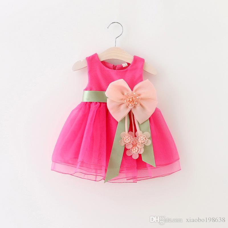 Nuevo Infantil Niños Niñas Niño A-line Vestido Sin Mangas Floral Impreso Kid Princesa Fiesta Vestido de Danza Gran arco estilo 1-3Y