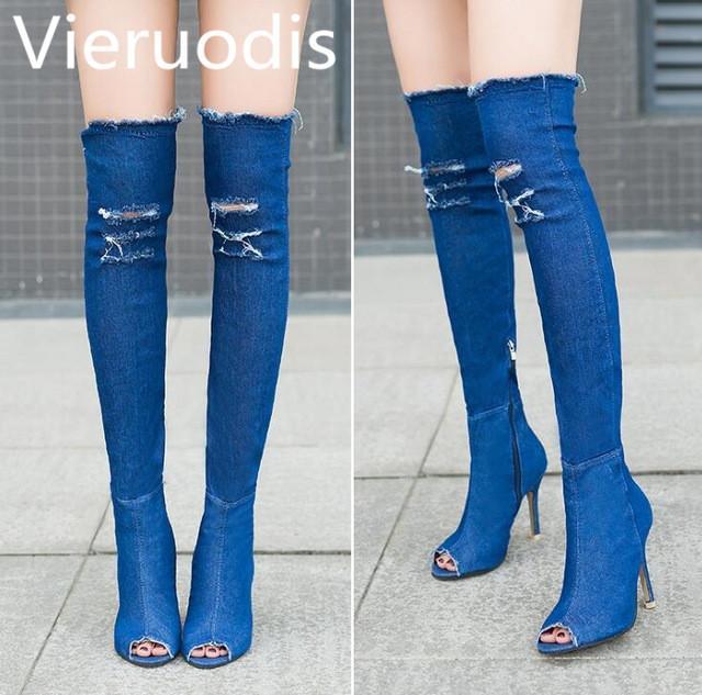 a8e5320baf651 Compre Botas De Mujer Vieruodis Verano Otoño Peep Toe Botas Sobre La Rodilla  Botas Alta Calidad Jeans Elásticos De Moda Tacones S249 A  34.86 Del  Clearityy ...