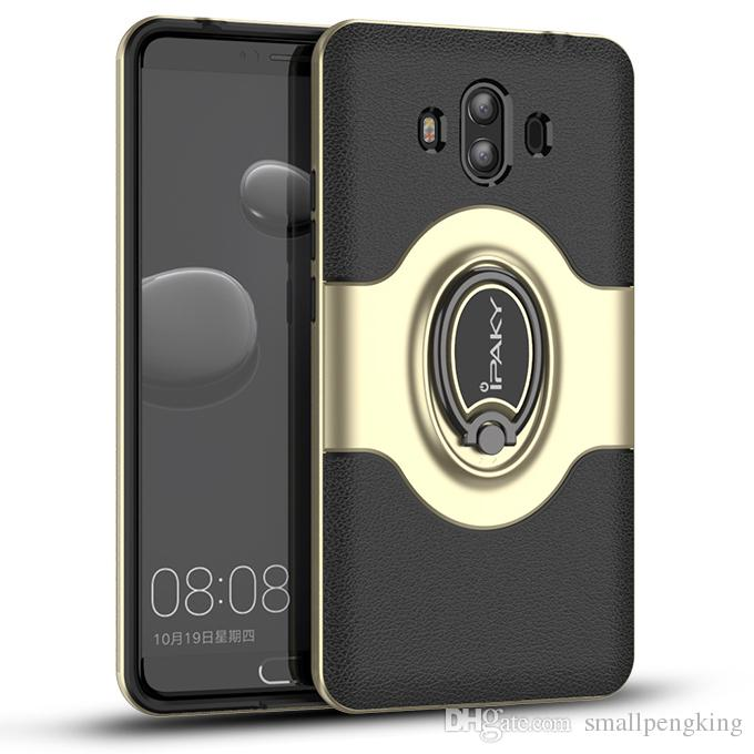 iPaky Case For Huawei Mate 10 Pro Rotation Ring Stand Holder Mate10  Magnetic Back Cover PC & TPU Drop-proof Cases With Package Stock