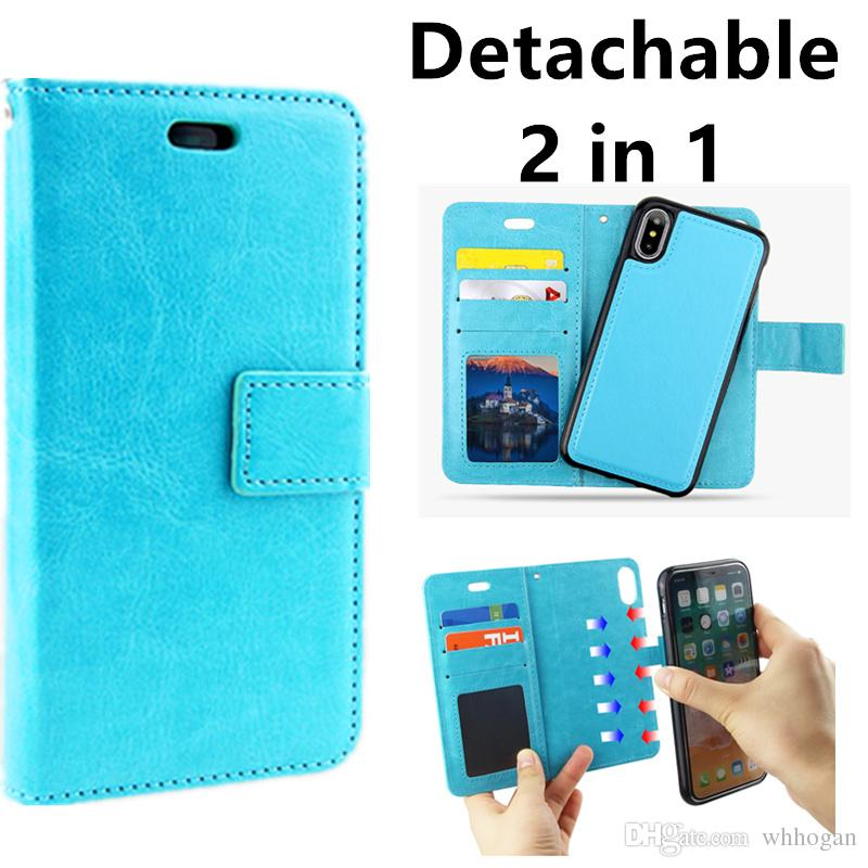 outlet store ab980 8f9ea For iPhone X 8 7 6 plus 2in1 Magnetic Magnet Detachable Removable Wallet  Leather Retro Case for Samsung Galaxy note 8 s8 plus