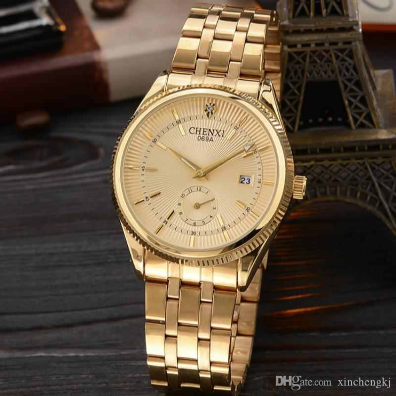 8d0856389ec Compre CHENXI Marca Calendário Relógios De Quartzo De Ouro Dos Homens De  Luxo Venda Quente Relógio De Pulso Relógio De Ouro Masculino Rhinestone  Relógio ...