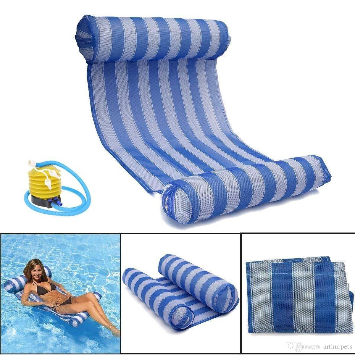 inflatable fopfei sleeping accessories chair from stripe lounger mattress air pool float swimming product floats water bed hammock