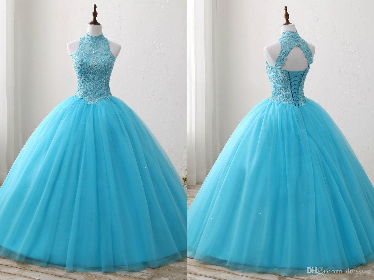 Real Picture 2018 Beaded Quinceanera Dresses High Neck Sweet 16 ...