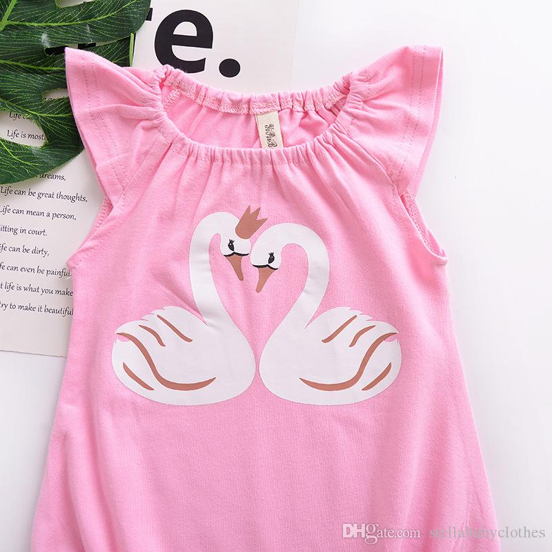 Toddler Baby Kids Girls Vestiti Cartoon Swan Printed Romper Jumpsuit Pagliaccetto senza maniche rosa ragazze carine
