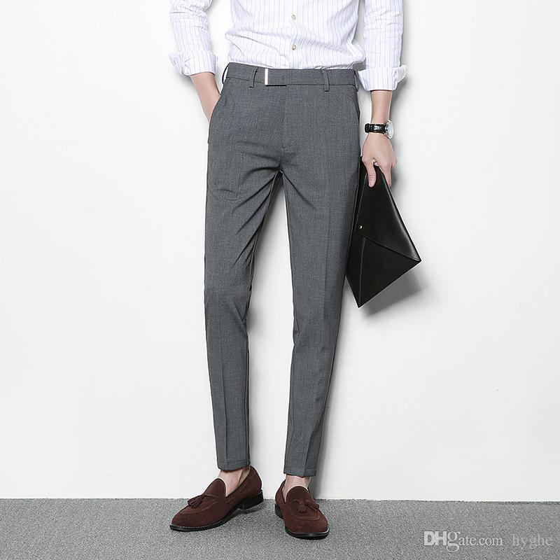 2019 Mens Grey Trousers Black Casual Dress Pants Men Pantalon Homme