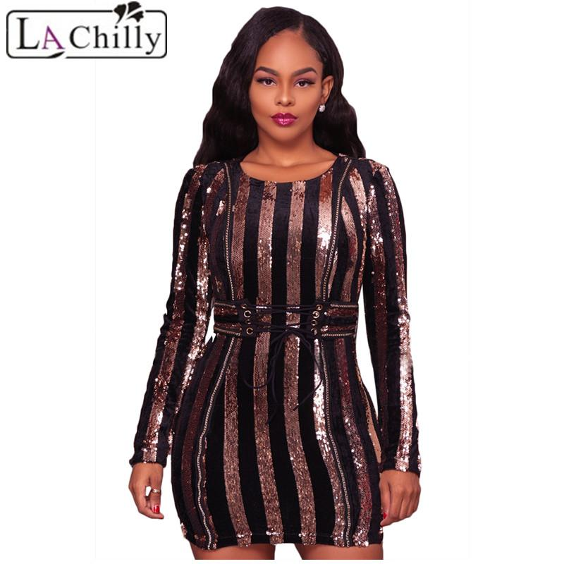 2019 La Chilly Vestidos Mujer 2018 Bodycon Dresses Glittering Silver Sequin  Lace Up Waist Mini Autumn Dress Long Sleeve LC220255 From Vineger 1b5dcf701fa3