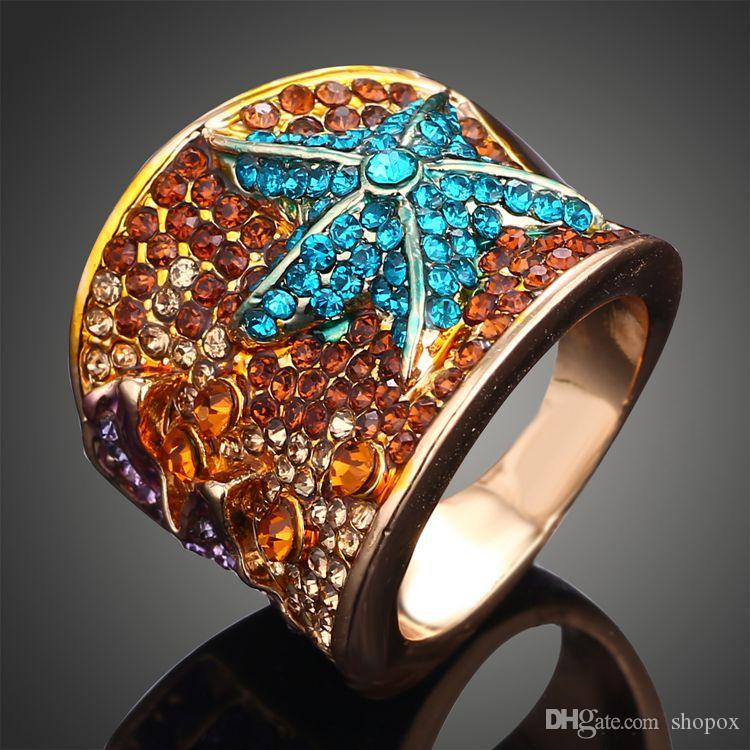 Diamond-studded Colored Pentagram Starfish Ring Ring Crystal Gem Ladies Luxury Ladies Ring Boutique Jewelry Accessories 4Size