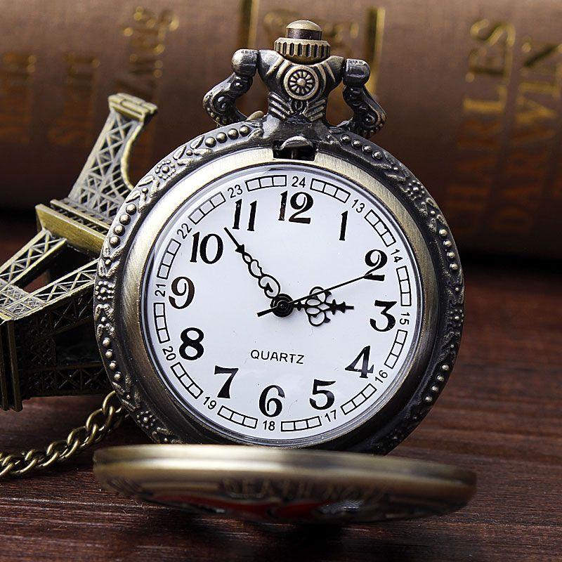 2017 Fashion Openwork DEATH NOTE Shape Quartz Pocket Watch Pendant With Necklace Chain Men Women Gifts Relogio De Bolso