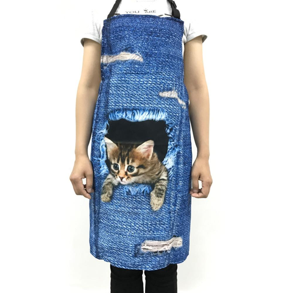 Wholesale-FORUDESIGNS Cute 3D Denim Cat Apron for Women Men Funny ...