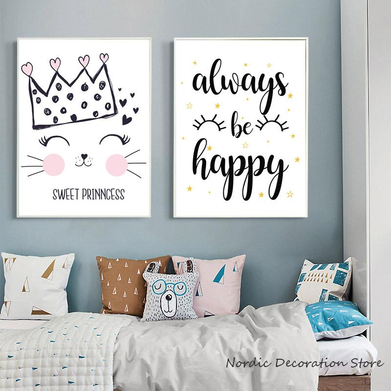 Exceptional Nordic Pink Cute Cat Animal Cartoon Kids Room Posters And Prints Wall Art  Canvas Painting Stars Wall Pictures Canvas Unframed UK 2019 From Waxer, ...