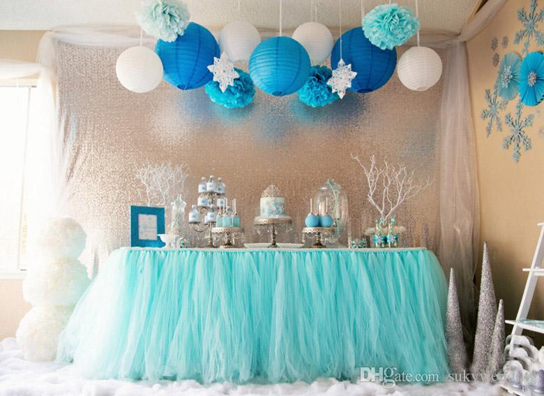 Tulle Baby Shower Decoration Ideas 100*80cm mint green tulle table skirts wedding tutu table decoration