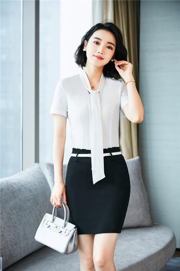 14f9022ca Moda de verano Estilos de uniformes formales Trajes de oficina con tops de  2 piezas y falda para mujer Blusas de negocios Camisas Trajes de falda