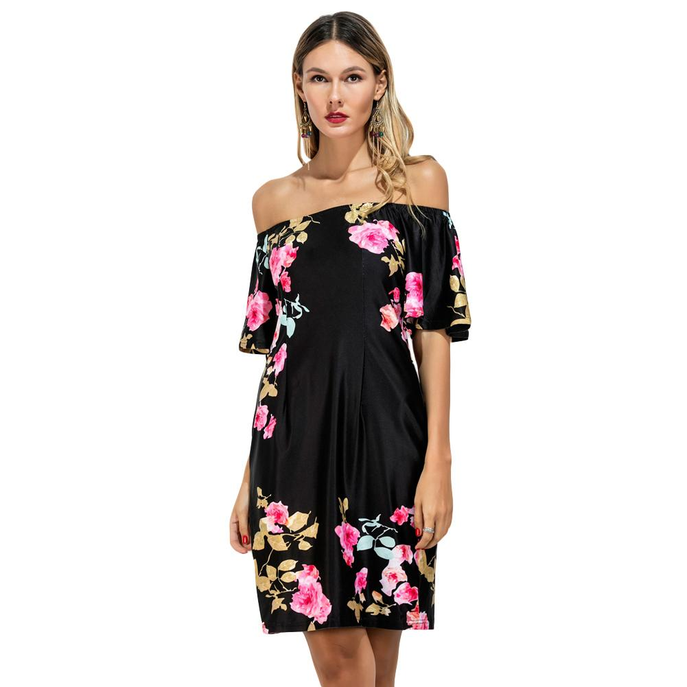 d0fe4c90172a Vintage Floral Print Summer Dress 2019 Women Short Sleeve Off Shoulder  Beach Party Dresses Sheath Black Club Bodycon Dress XXL Pink Cocktail Dresses  Dress ...