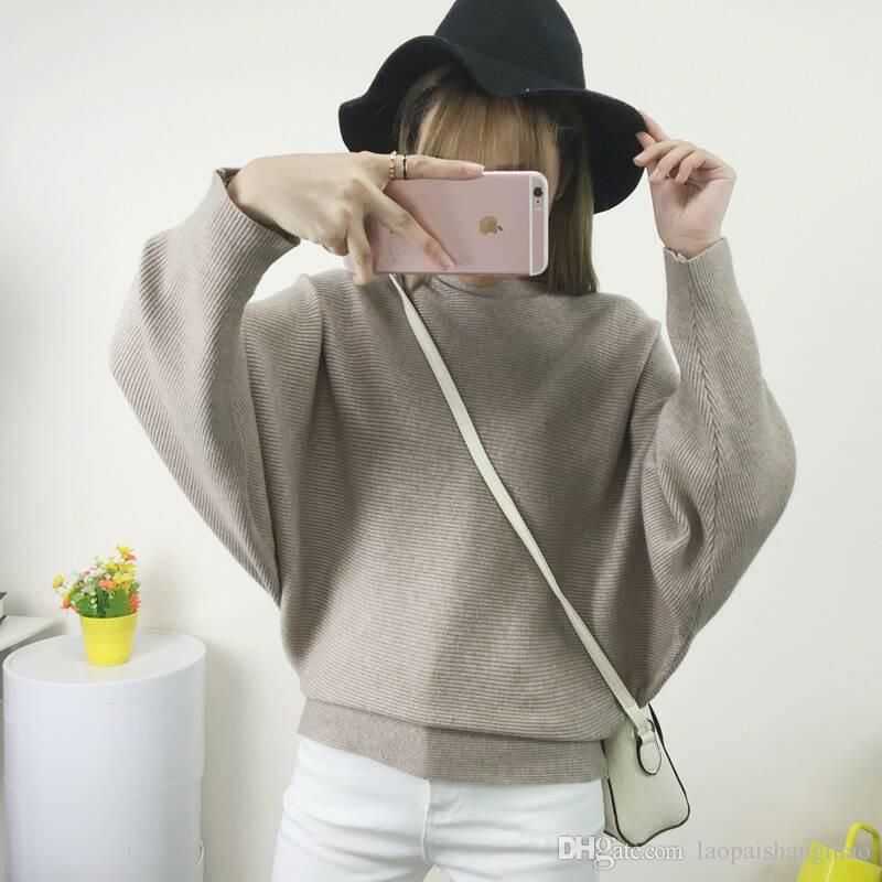 Suéter de cuello de una palabra para mujer Moda europea y americana color puro Suéter de hilo Suéter de manga de murciélago suelto Suéter de manga larga
