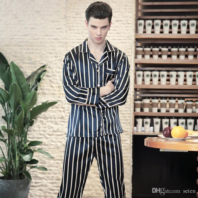 0d9bebd145 2019 Pajamas Faux Silk Men Sleep Lounge Wear Striped Pijamas 2018 Spring  Autumn New Pyjama Homme Long Pants Male Pajama Sets Homewear From Seten