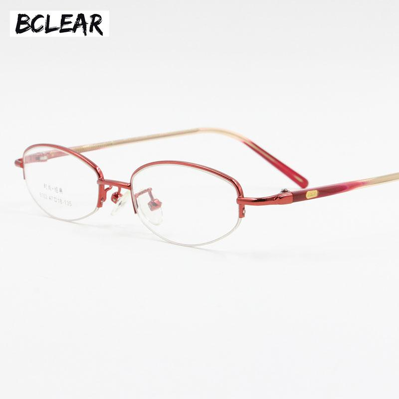 3d113fa9151 2019 BCLEAR Women Semi Rimless Spectacle Frame Small Size Eyeglass Small  Face Lady Fashion Classic Alloy Opical Frame Red Pink Purple From Buete