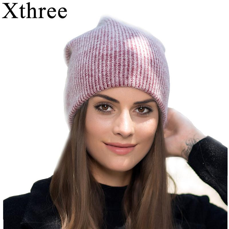 dbbcbb69b8d Xthree New Simple Rabbit Fur Beanie Hat for Women Winter Hat for ...